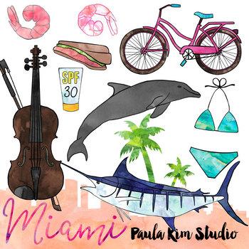 Miami Watercolor Clip Art