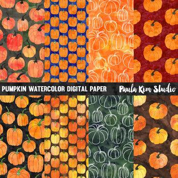 Pumpkin Watercolor Digital Paper