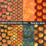 Pumpkin Watercolor Digital Paper