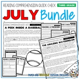 July Reading Comprehension Passages and Questions for 3rd Grade