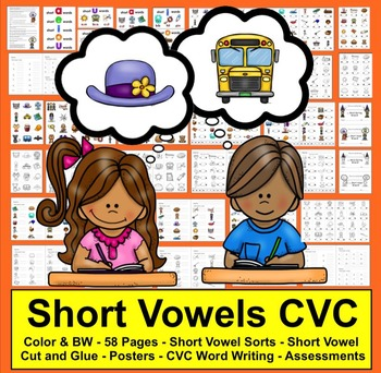 Short Vowels Cut and Glue and Word Sorting Activities - SET ONE