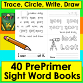 Sight Words Booklets PREPRIMER:Interactive Foldable-First 40 Dolch-Print and Go!