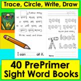 Sight Words Booklets PREPRIMER Independent Work