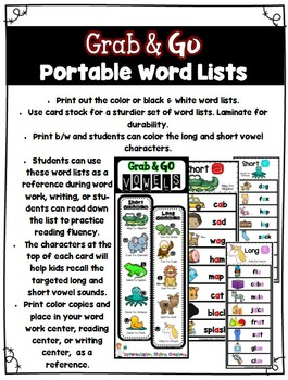 Long Vowels and Short Vowels: Bookmarks, Word Lists, Posters