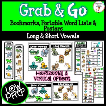 Long Vowels And Short Vowels Bookmarks Word Lists