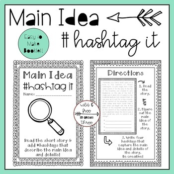 Main Idea Hashtag It Activity
