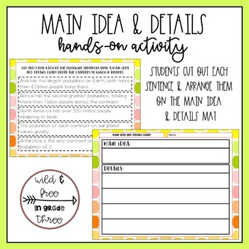 Main Idea and Details Hands-On Activity