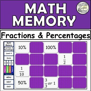 Interactive Math Memory Game Fractions & Percentages