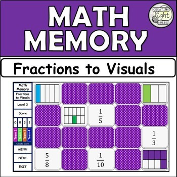 Interactive Math Memory Game - Fractions to Visuals.
