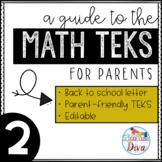 Math TEKS for Parents - 2nd Grade Back to School