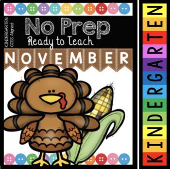 Math and Reading Activities - NO PREP - November in Kindergarten Worksheets
