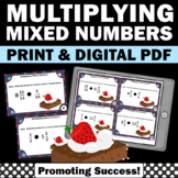 Multiplying Mixed Numbers Task Cards, 5th Grade Fraction Review Games