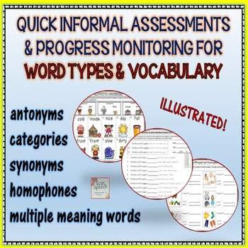 VOCABULARY: Quick Informal Assessments & Progress Monitoring Forms 1st-7th Grade