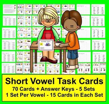 Task Cards - Short Vowels - 70 Cards Grouped by Vowel Sound - 5 Sets