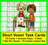 Task Cards - Short Vowels - 70 Cards Grouped by Vowel Sound - 5 Sets