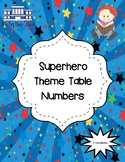 Superhero Table Number Banners/Pennants