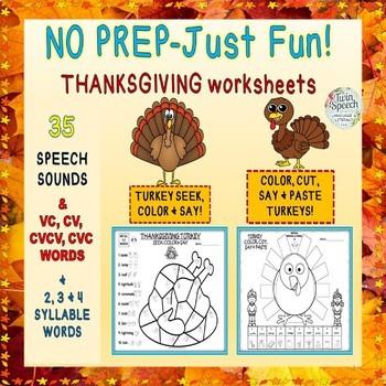 NO PREP-JUST FUN! Thanksgiving Articulation: 35 Sounds + CV to 4 Syllable Words