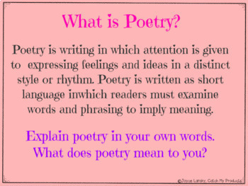Poetry Writing Unit for PROMETHEAN Board