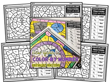 New Years Coloring Pages Equivalent Fractions Color by Number