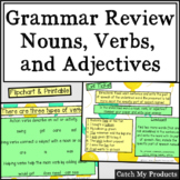 Nouns, Verbs, and Adjectives Review Lesson for PROMETHEAN BOARD Use
