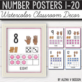Number Posters 0-20 - Watercolor Classroom Decor