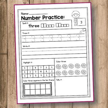 Number Sense Worksheets 1 to 20