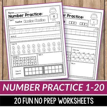 Number Sense Activities Kindergarten Teen Number Worksheets 1 20