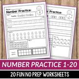 Number Sense Activities Kindergarten, Teen Number Worksheets 1-20