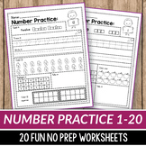 Number Sense Activities Kindergarten, Teen Number Worksheets 1-20