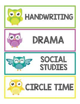 Owl Schedule Cards - Daily Schedule Cards Editable