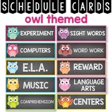 Daily Schedule Cards Editable, Owl Classroom Theme