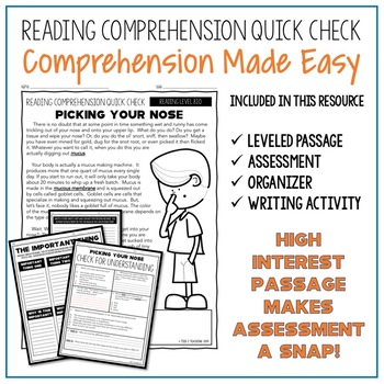 Picking Your Nose Reading Comprehension Passage and Questions