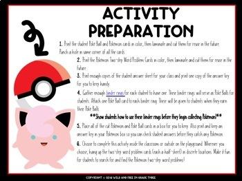 Pokémon Inspired Two Step Word Problem Math Activity