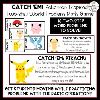 FREEBIE: Pokémon Inspired Two Step Word Problem Math Activity