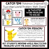 Pokémon Inspired Two Step Word Problem Math Game (2 Editable Versions Included)