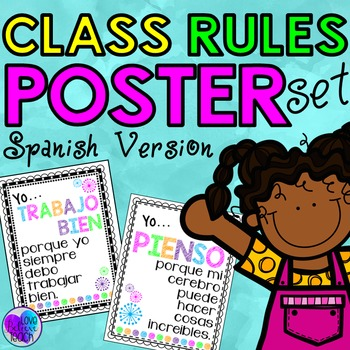 SPANISH VERSION Classroom Rules Poster Set (Class Rules)