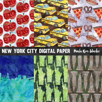 New York City Watercolor Digital Paper