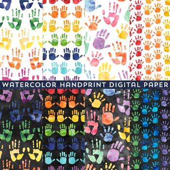 Watercolor Handprint Digital Paper