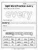 Sight Word Activities 1ST Grade, Sight Word Practice Sheets 1ST Grade