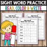 Sight Word Activities for Kindergarten - Read, Color, Trace