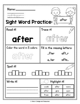 Sight Word Practice for 1st Grade  - Sight Word Activities