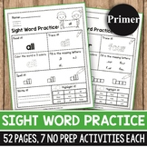 Sight Word Practice for Kindergarten - Sight Words Worksheets for Kindergarten