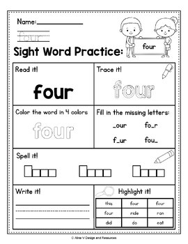 Sight Word Practice for Kindergarten - Sight Words ...