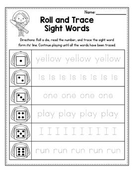 Sight Word Worksheets Kindergarten - Roll and Trace
