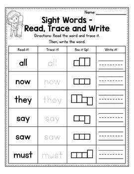 Sight Word Worksheets Preprimer - Read, Trace & Write