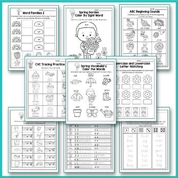 Spring Activities For Kindergarten (Literacy No Prep) - Spring Break Packet