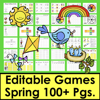 50% OFF Spring Sight Word Games EDITABLE: Use Any List: Words, Letters, Math