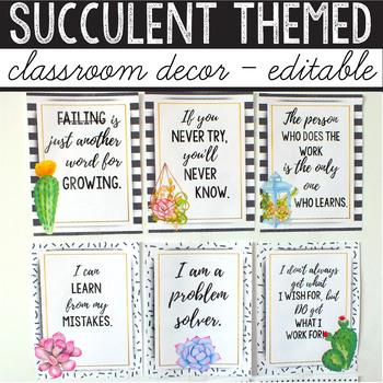 Cactus Classroom Decor Bundle EDITABLE, Succulent Classroom Decor