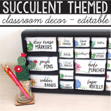 Cactus Classroom Decor Bundle Succulent Theme Library Labels Editable Banner