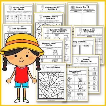 Summer Activities For Kindergarten (Literacy No Prep) - Summer Review